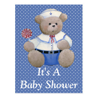 Cartão do convite do urso do marinheiro