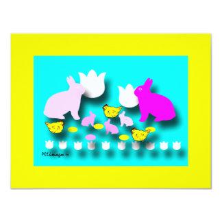 Cartão do convite dos coelhinhos da Páscoa