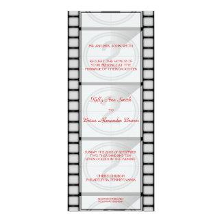 "Cartão do convite/menu do ""bilhete"" do cinema convite 10.16 x 23.49cm"