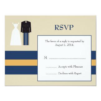 Cartão do convite RSVP do casamento do exército