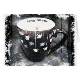 Cartão do copo da aranha do Dia das Bruxas