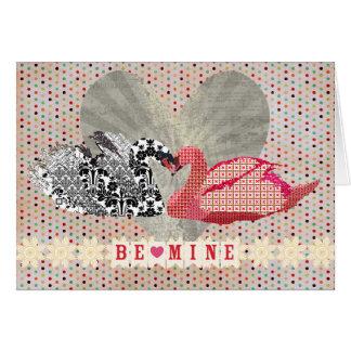 Cartão do coração das cisnes