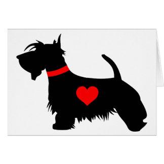 Cartão do coração do cão do Scottie