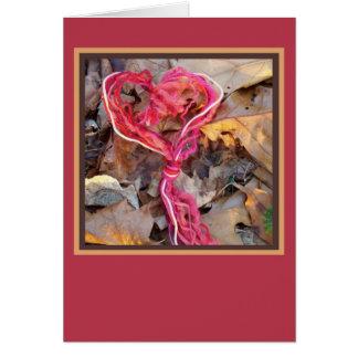 Cartão do coração do nó do fio