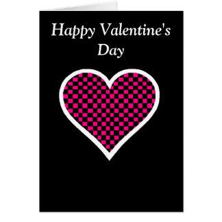 Cartão do coração do tabuleiro de damas do feliz d