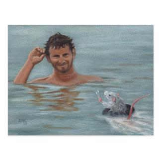 Cartão do cotonete de algodão da natação do homem  cartoes postais