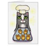 Cartão do cozimento do gato do cozinheiro chefe