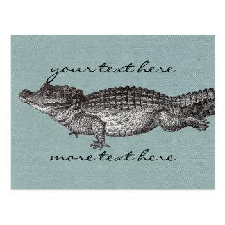 Cartão do crocodilo do vintage