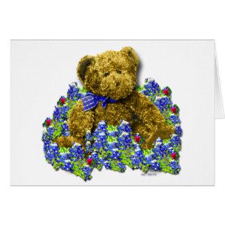Cartão do cumprimento/nota do urso do Bluebonnet