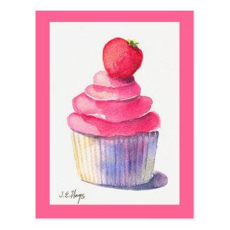 Cartão do cupcake da morango
