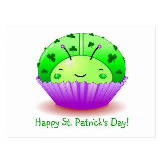 Cartão do cupcake do joaninha do dia de St Patrick