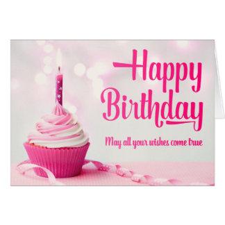 Cartão do cupcake do rosa do feliz aniversario
