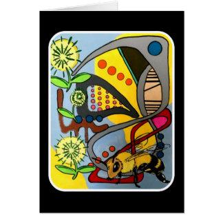 """Cartão Do """"da abelha abstrata do jardim da modificação"""