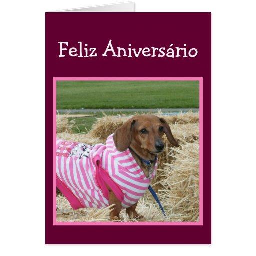 Cartão do Dachshund do aniversário de Feliz Aniver