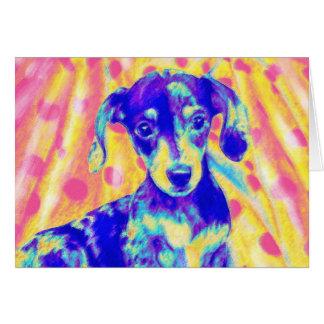 cartão do dachshund do arco-íris