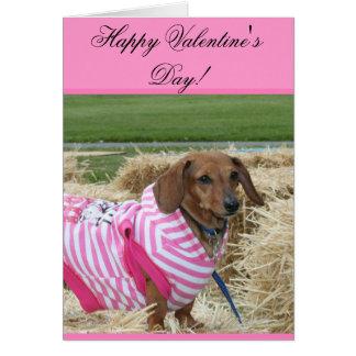 Cartão do Dachshund do feliz dia dos namorados