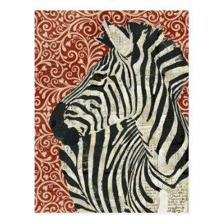 Cartão do damasco da zebra do Grunge Cartões Postais