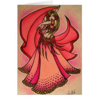 Cartão do dançarino de barriga dos namorados