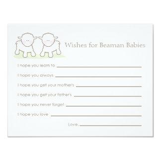 Cartão do desejo do chá de fraldas - cordeiros convite 10.79 x 13.97cm