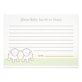 Cartão do desejo do chá de fraldas - cordeiros peq
