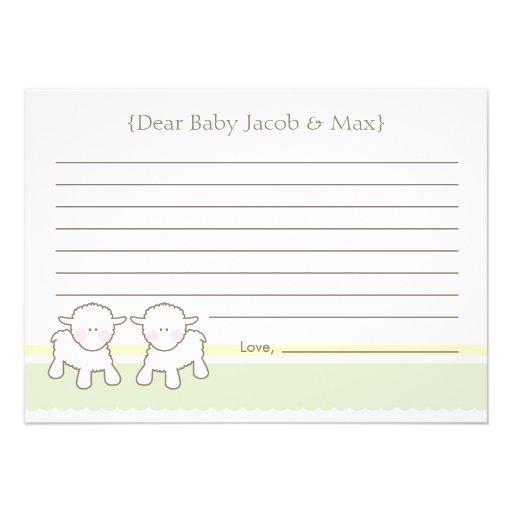 Cartão do desejo do chá de fraldas - cordeiros peq convites personalizado