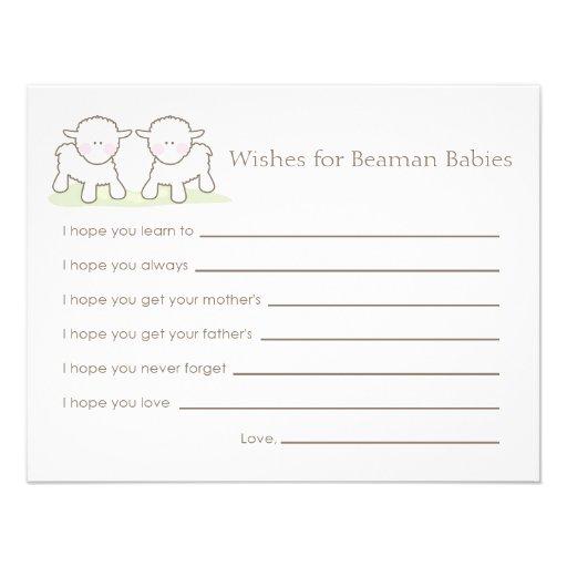 Cartão do desejo do chá de fraldas - cordeiros peq convite personalizado