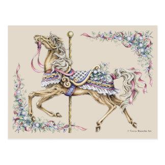 Cartão do desenho do cavalo do carrossel do