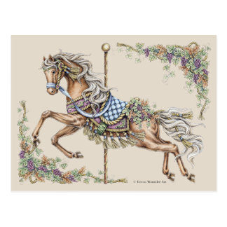 Cartão do desenho do cavalo do carrossel do outono