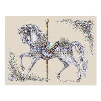 Cartão do desenho do cavalo do carrossel do verão