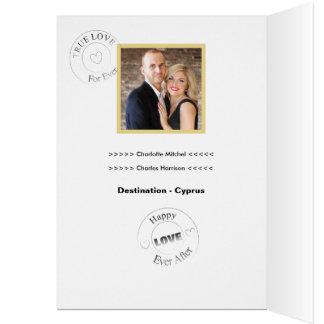 Cartão Do destino dos casamentos o passaporte da foto no