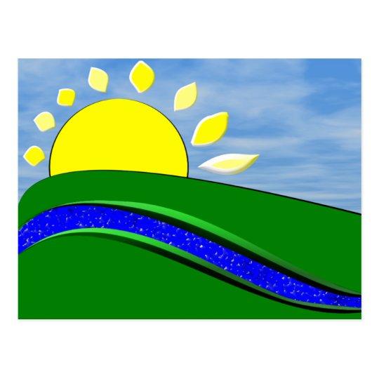 Cartão do dia da luz do sol do bom dia cartão postal