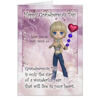Cartão do dia das avós - a menina bonito com