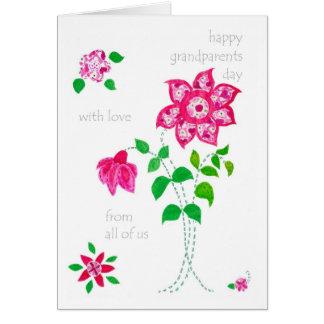 Cartão do dia das avós - flores cor-de-rosa