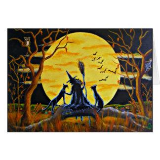 Cartão do Dia das Bruxas, bruxa, bastões, preto,