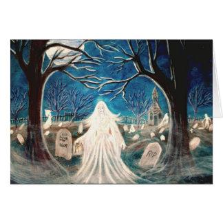 Cartão do Dia das Bruxas, cemitério, fantasma,