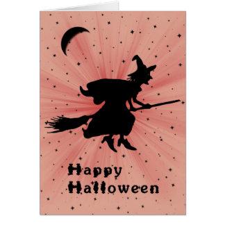 Cartão do Dia das Bruxas com bruxa em uma vassoura