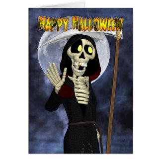 Cartão do Dia das Bruxas com Ceifador feliz