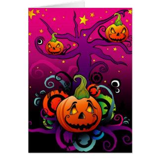 Cartão do Dia das Bruxas da abóbora