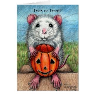 Cartão do Dia das Bruxas da abóbora do rato,