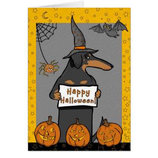 Cartão do Dia das Bruxas da bruxa do Dachshund