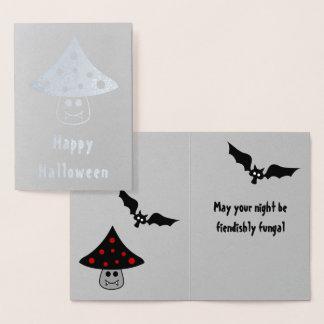 Cartão do Dia das Bruxas da folha do vampiro do