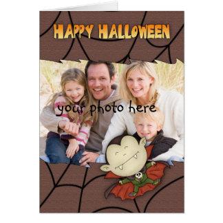 cartão do Dia das Bruxas da foto com o menino