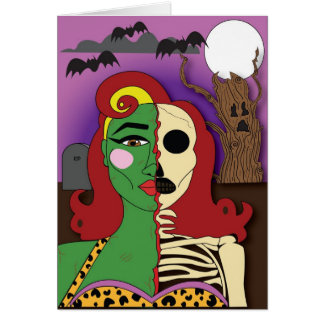Cartão do Dia das Bruxas da menina do Pin-acima do