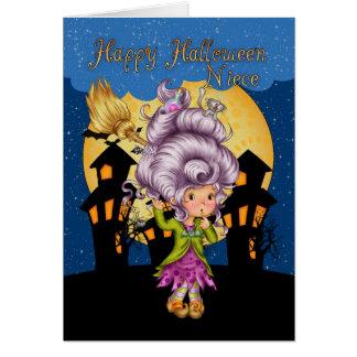 cartão do Dia das Bruxas da sobrinha com bruxa