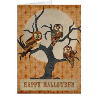 Cartão do Dia das Bruxas das corujas