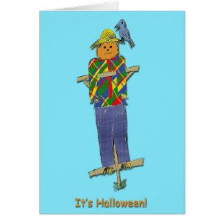 Cartão do Dia das Bruxas do espantalho
