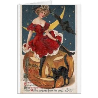 Cartão do Dia das Bruxas do período da bruxa do