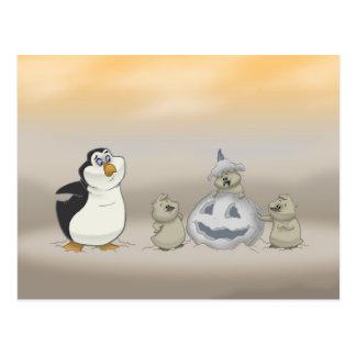 Cartão do Dia das Bruxas do pinguim