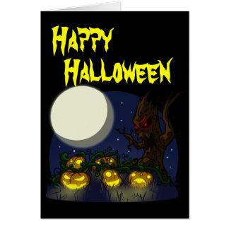 Cartão do Dia das Bruxas do remendo da abóbora