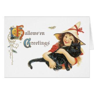 Cartão do Dia das Bruxas do vintage
